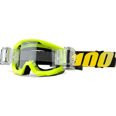NEW 100 Percent MX Strata SVS Yellow Kids 100% Motocross Youth Roll-Off Goggles