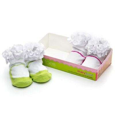 NEW Tippy Toes Mary Janes Baby Sock Set 2pce Pink & Lime