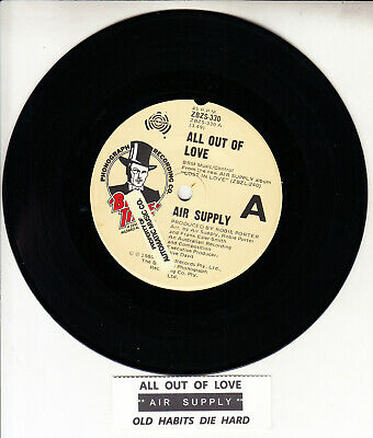 """AIR SUPPLY  All Out Of Love 7"""" 45 rpm vinyl record + juke box title strip"""