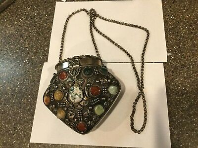 Vtg Metal Bag with Agate and Polished stones.