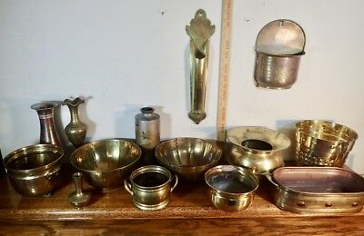 large lot of collectible solid brass vases planters and wall pockets