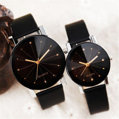 Fashion  Men Women's Leather Strap Line Analog Quartz Ladies Wrist Belt Watch