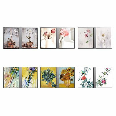 Framed Flower Painting Picture HD CANVAS PRINT Poster Wall Art Home Decor-2pcs