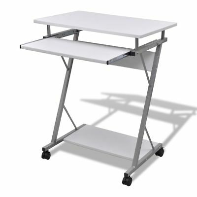 Mobile Compact Computer Cart Desk Laptop Table with Keyboard Tray Wooden White