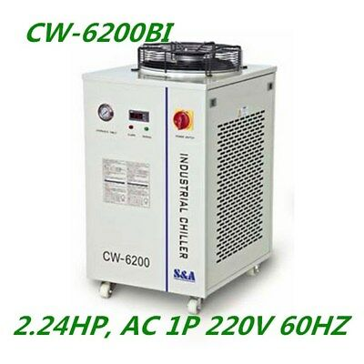 S&A 220V CW-6200BI Industrial Water Chiller for Dual 200W CO2 Glass Laser Tubes