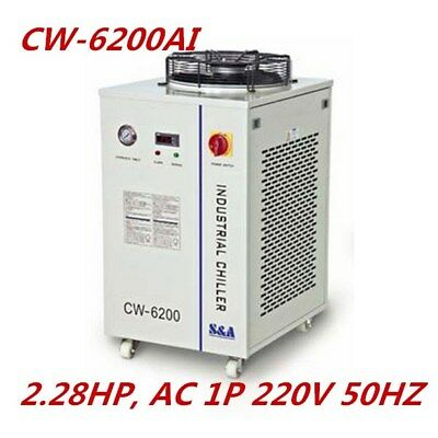 S&A 220V CW-6200AI Industrial Water Chiller for Dual 200W CO2 Glass Laser Tubes