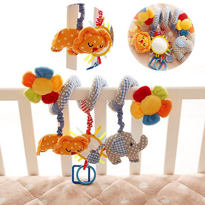 AU New Infant Stroller Bed Crib Ring Crinkle Spiral Jingle Bell Rattle Baby Toys