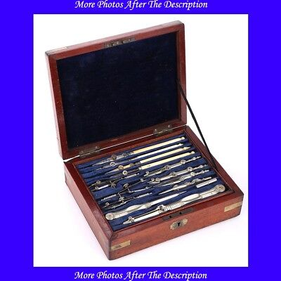 Antique Large Stanley Compass Set in Solid Mahogany Case. England, Circa 1900