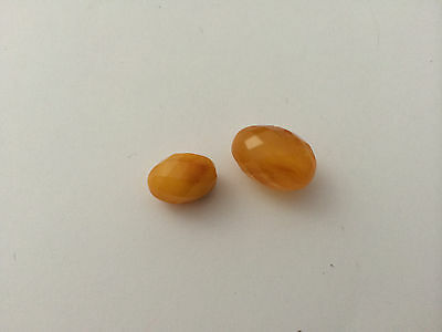 Natural vintage rare Baltic amber stone beads olives faceted #7390