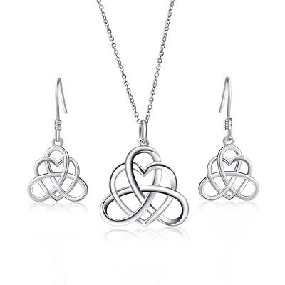 925 Sterling Silver Good Luck Irish Heart with Triangle Celtic Knot Vintage Jewe