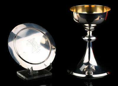 Antique Silver Chalice with its Silver Paten. France, Circa 1900