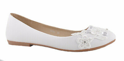 Off White Lace Flower and Diamante Details  Flat Pumps Bridal Ballerina