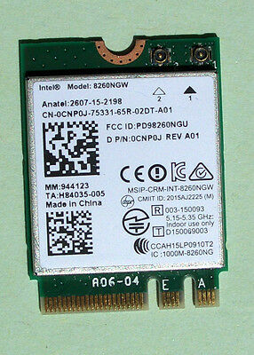 Intel Dual Band Wireless-AC8260 Model:8260NGW 802.11ac 876Mbps M.2 BT 4.2 0CNP0J