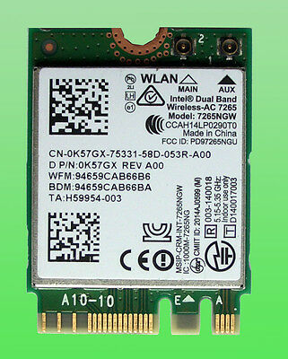 Intel Dual Band Wireless-AC7265 Model7265NGW 802.11ac 876Mbps M.2 NGFF  0K57GX