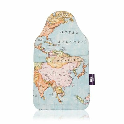 Limited Edition World Map Luxury Cotton Cover Hand Made 2 Litre Hot Water Bottle