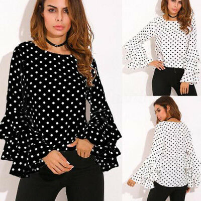 Womens Long Sleeve Chiffon T-Shirt Ladies Polka Dot Loose Tops Blouse Plus Size