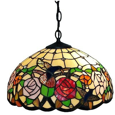 Tiffany-style 2-light Floral Hanging Lamp Stained Glass Craftsman Art Deco