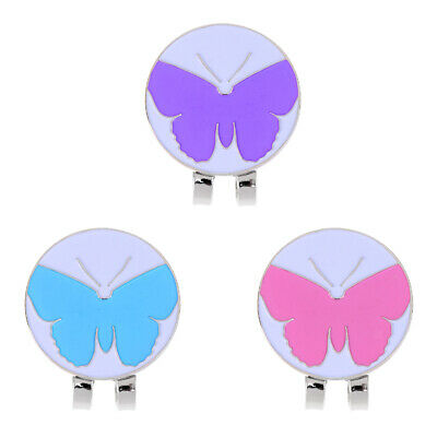 New 3Pcs Golf Ball Marker with Magnetic Hat Clip Cute Butterfly Patterns