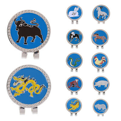 12Pcs Magnetic Visor & Hat Clip with Golf Ball Marker Chinese Zodiac Pattern