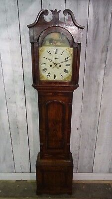 Finnemore And Sons Victorian Longcase Hand Painted Oak Grandfather Clock