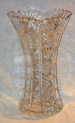 "High Quality Large Lead Crystal Wheel Cut Glass Vase 10 1/2"" Tall Perfect Condit"