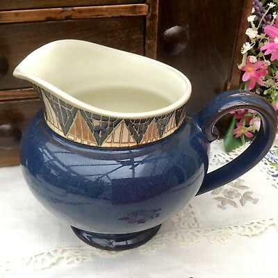 Denby Boston Spa Sauce Jug - Mid Blue With Decorated Border & Sticker