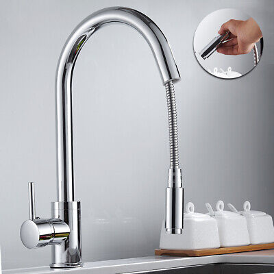 Kitchen Sink Taps Pull Out Spray Basin Mixer Tap Chrome Modern Monobloc Faucet