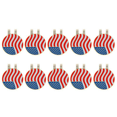 10Pcs Magnetic Hat Clip with USA Flag Golf Ball Marker Clip On Cap Visor
