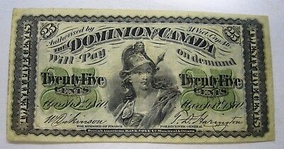 1870 Dominion Of Canada 25 Cents Fractional Shinplaster Note
