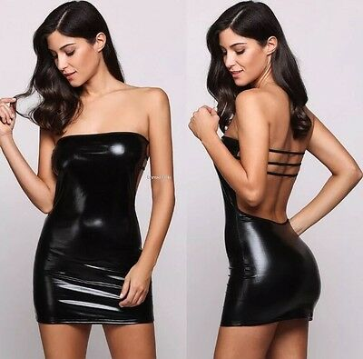 Sz 5-7 Mini Dress, Exotic Club Dancing Dress, Pleather/PVC Very Sexy Dress Black