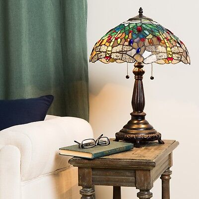 Tiffany Style Blue Dragonfly Table Lamp Stained Glass Art Home Decor Craftsman