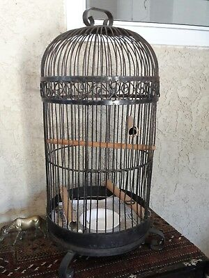"""Bird cage Vintage  ornate scrolled wrought iron metal birdcage approx  35"""" tall"""