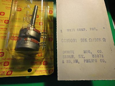 1Pc. Vintage Dual 50K Linear Taper Ohmite 2Watt Pot