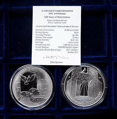 Hungary 2017 500th Anniversary of Reformation  10000 Forint, PP Silver UNC