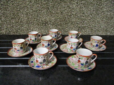 Vintage handpainted Japan 8 tea cups saucers set, geisha Japanese hand painted