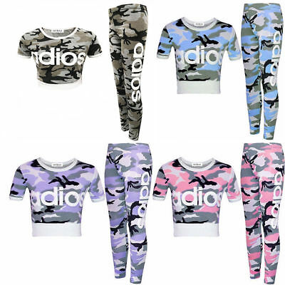 New Kids Girls Adios Camouflage Military Army Crop Top & Legging Set Tracksuit