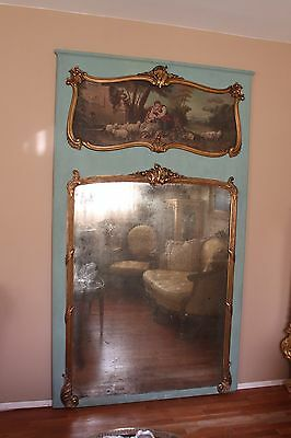 Antique Large Gilt French Oil Painted  Carved Trumeau Mirror 7.5 ft Tall