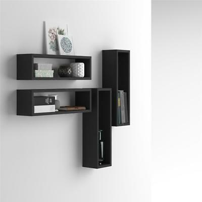 Mobilifiver, Set of 4 wall-mounted cube shelves, Iacopo, Laminate-faced, Black A