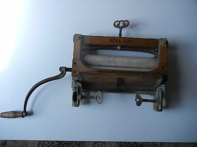 Early 20th Century ROLL-EZY No.215 Wood & Cast Iron Washing Machine Wringer