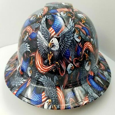 FULL BRIM Hard Hat custom hydro dipped , NEW AMERICAN HERO EAGLE USA FLAG