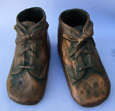 Vintage  Pair Copper Bronzed Plated Baby Shoes