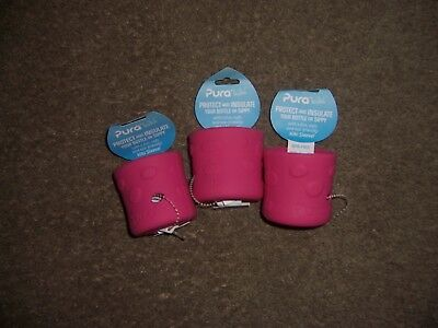 Pura Kiki  protect insulate pink bottle or sippy cup lot of 3