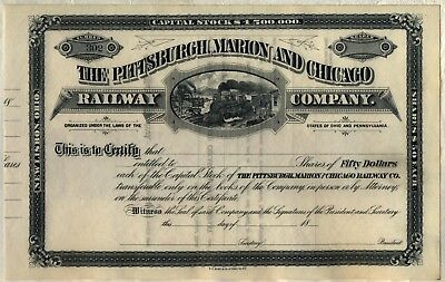 Pittsburgh, Marion & Chicago Railway Company Stock Certificate