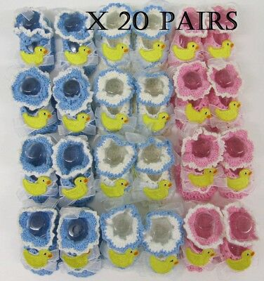Baby Booties Hand Made pink blue white crochet shoes job lot  20 pairs wholesale
