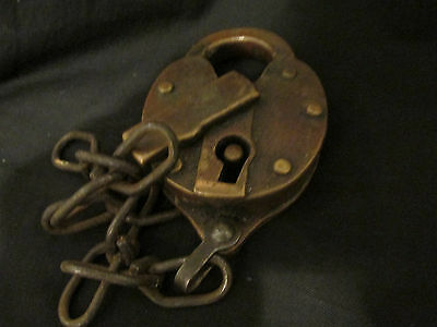 S38 antique brass padlock F S 1927 no key chain