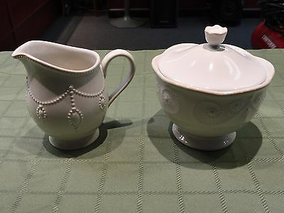 Lenox French Perle Cream And Sugar  Dishes Excellent Ready To Ship!!!