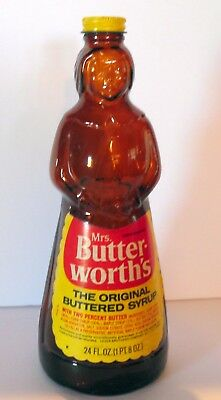 MRS. BUTTERWORTH'S AUNT JEMIMA SYRUP GLASS BOTTLE WITH CAP Metal 24 oz
