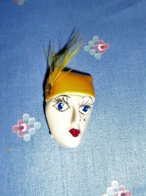 Xrare-Vintage Art Deco Brooch/pin-1930's Era-Porcelain Flapper Head