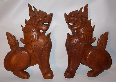 "Pair Of Vintage Hand Carved Teak Foo Dog Wall Plaques 12"" x 12"" x 1"""