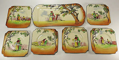 Early ROYAL DOULTON 7 Piece Gleaners or Gipsies Series Ware Sandwich Set ca.1930